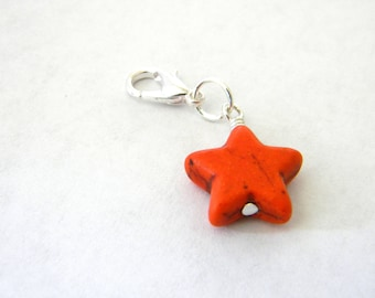 Orange Star Charm with Lobster Clasp Stone 15mm