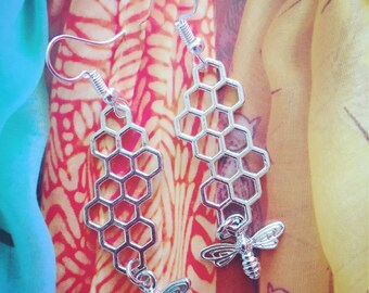 Quirky Honeycomb Bee Earrings