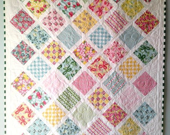Baby Quilt Shabby Chic Crib Bedding | Baby Girl Patchwork Baby Shower Gift | Dainty Darling Lap Quilt | Farmhouse Decor Baby Quilts Bedding
