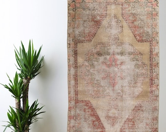 Muted Small Area Rug Oushak Decorative Handwoven Rug Turkish Antique Rug 4.3 ft x 6.6 ft F-272