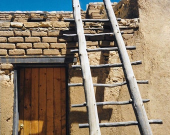 Ladder on Adobe Home, Southwest Art, 5 x 7 Matted Photograph, Original Photograph
