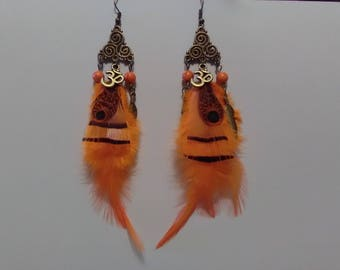 Orange natural feather earrings