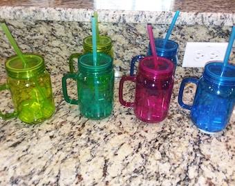 Personalized 8 oz. Plastic Mason Jar Insulated Tumblers