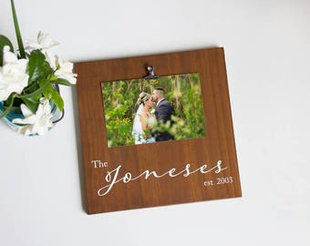 Personalized Picture Frame – Wooden Picture Frame - Personalized Wedding Gift - Rustic Picture Frame– Last Name Established Sign– Wood Frame