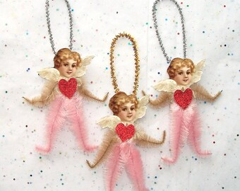 Primitive Chenille Angel Ornaments, Valentine Christmas Angels Vintage Style Chenille Ornaments , Victorian Faces Ornaments (72)