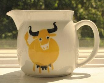 "Arabia Finland Yellow Cow Pitcher 4 1/2"" by Kaj Franck 1960's Scandinavian Mod"