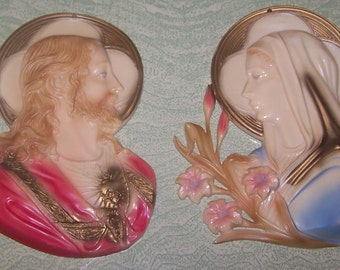 Plastic Jesus Madonna Virgin Mary religious wall hanging plaque