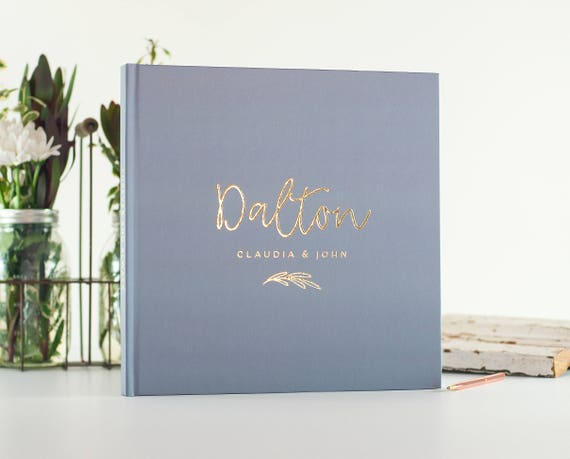 Wedding Guest Book Dusty Blue wedding guestbook Gold Foil personalized wedding photo book instant photo booth guest sign in photo guest book