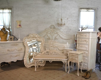 Queen Or King French Bed Painted Cottage Shabby Chic French Bedroom  Collection