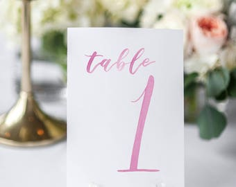 Watercolor Wedding Table Numbers PINK // table cards // watercolor // wedding // table numbers // paper table cards // watercolor cards
