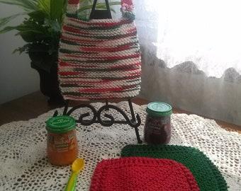 Christmas Time Hand Knit Baby Bib and Washcloth Set