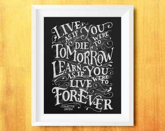 Learn Forever Gandhi Printable Quote (Lettering, Typography)