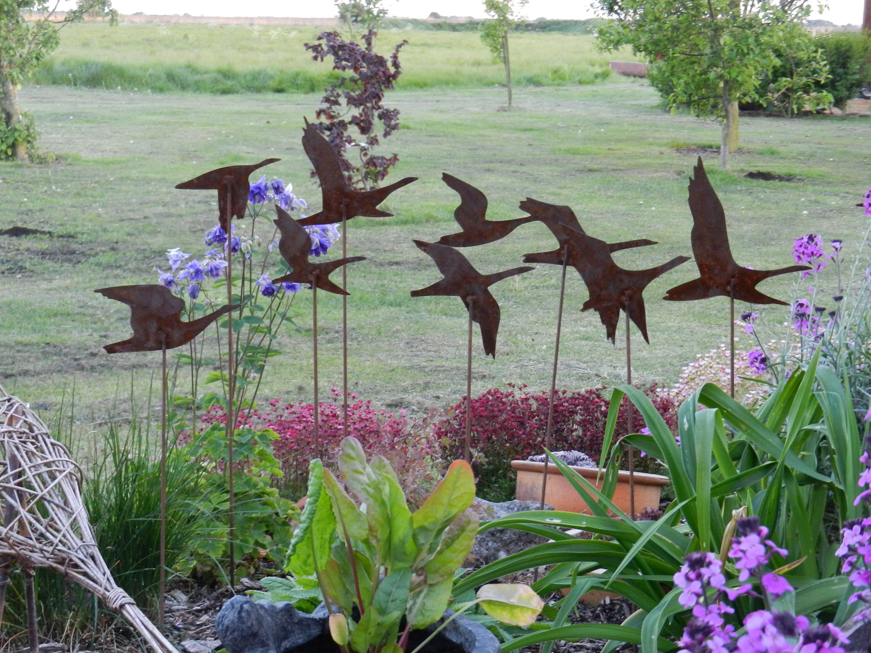 Flying Geese Garden Art / Rusty Metal Geese Sculpture / Swans