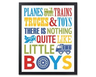Planes trains trucks and toys Little Boys Wall Art Nursery Decor Printable kids Poster printable art for boys playroom printable art toddler