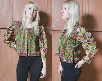 Sale 40% Off VTG 70's Cropped Silk Ethnic Jacket Blouse Sheer Sleeves - S