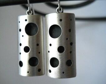 modern earrings, sterling silver earrings, earrings with holes, modern silver jewelry, geometric earrings, holey earrings, fun earrings