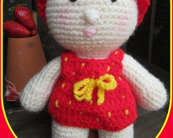 Strawberry, doll, amigurimi toy kids, red, crocheted