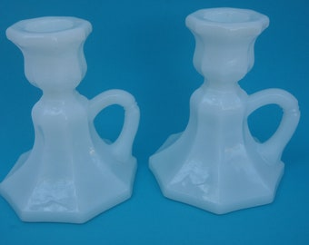 White MilkGlass Candlesticks Two Candle Holders