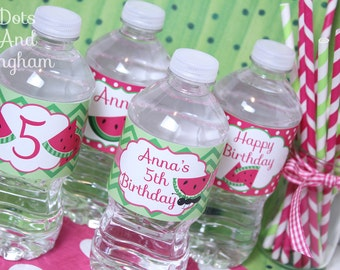 Watermelon Water Bottle Labels-Watermelon Drink Wrap-Watermelon Party- Printable Watermelon Water Bottle Labels-Pink Watermelon Water Wraps