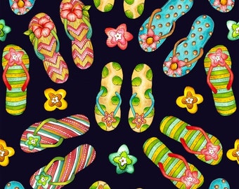 Beach Fabric  Cotton Quilt FabricsPink Lady 8493-99 Flip Flops Quilting Sewing 1/2 yard cut