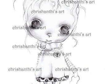 INSTANT DOWNLOAD digitale Digi stempels... door Chrishanthi van kunst, griezelig meisje, boom.