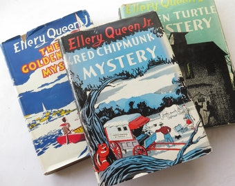 Ellery Queen Jr. Mystery 1940s Series Set of Three Cloth Hard Cover Original Dust Jackets Golden Eagle Green Turtle Red Chipmunk Djuna