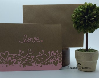 Love You Card, Pink Hearts Card, Anniversary Card, Romantic Card, Handcrafted Card, Handmade Card, Kraft & Pink Card, Kraft Card