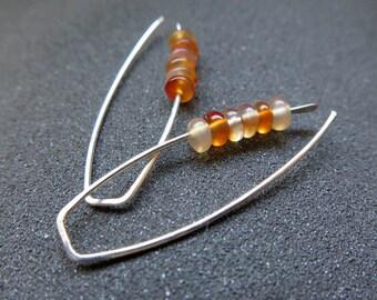 carnelian earrings. orange jewelry. natural stone jewellery. sterling silver earings.