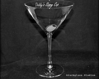 Etched Daddy's Sippy Cup Martini Glass by Jackglass on Etsy