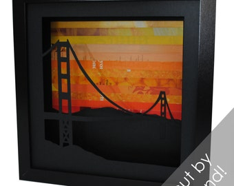 Golden Gate Bridge SUNSET shadowbox- made from recycled magazines, San Francisco, California, bridge