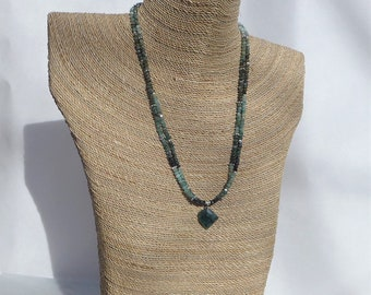 Raw Emerald Necklace with Emerald Pendant