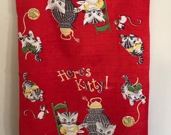 Three Naughty Kittens - Vintage Dish Towel - Here's KITTY on RED - a Fun Find!
