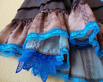 Brown gypsy altered couture skirt ruffles Dusk Blue lace