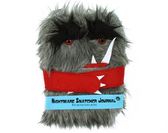 Nightmare Snatcher children's monster journal, gray red fuzzy Winston monster book
