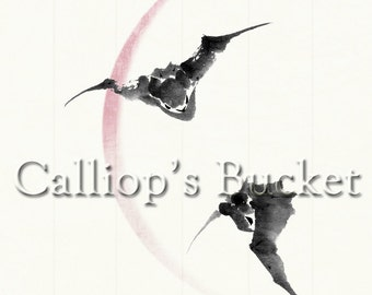 """Bats Against A Crescent Moon, ink on paper. (all artworks are sold without the """"Calliope's Bucket"""" stamp)"""