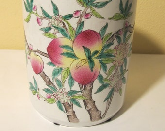 ON SALE Vintage Colored  Brush Holder with  Peaches