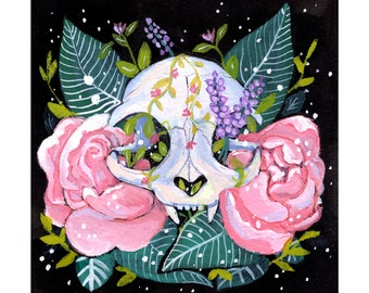 Blooming Cat Skull Print.  Limited Edition.