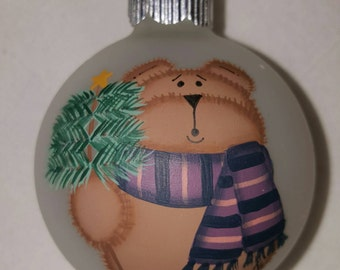 Ornament,  Christmas Ornament, Teddy Bear Ornament, Keepsake Ornament, Personalized Ornament, Hand Painted Ornament, Christmas Tree Ornament