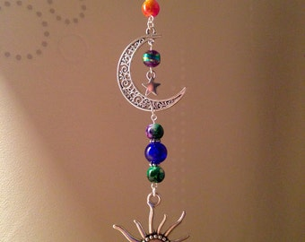 Beautiful Handmade Sun, Moon & Stars Suncatcher Hanging Charm, Keepsake, Gift, Astronomy, Galaxy