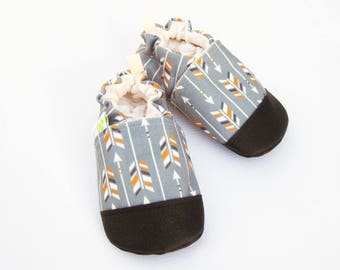 Eco-Canvas Vegan Arrows In Charcoal / non-slip soft sole baby shoes / made to order / Babies Toddlers Preschool