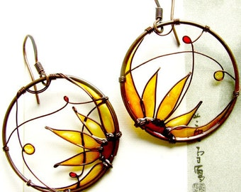 Sunflower Earrings. Sunflower Jewelry. Round Copper Earrings. Amber Earrings. Flower Earrings. Flower Jewelry. Wire Jewelry. Summer Earrings