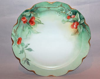 """8139: Antique Haviland France Huge 12 5/8"""" Charger Cabinet Plate Tray Cherries Antique Hand Painted China Porcelain at Vintageway Furniture"""