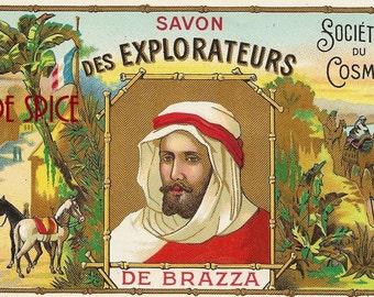 French Vintage Soap Label des Explorateurs jpeg instant digital download