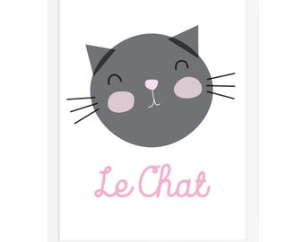 Girls Room Art Print, Cute Cat Poster, French Kids Art, Nursery Art for Girls, Girls Nursery Decor, Girls Room, Baby Room Wall Art, Cat Art