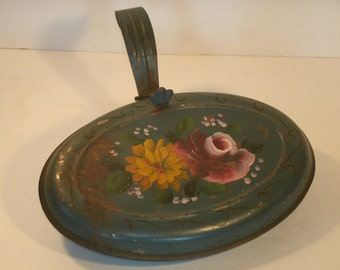Toleware Silent Butler Vintage Hand Painted Metal Hinged Crumb Tray Container Box Retro Kitchen Tinware Shabby Chic Table Decor Jewelry Box