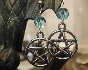 Blue Crystal Pentacle Earrings- Wiccan-New Age witch