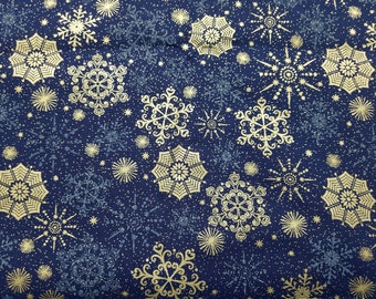 Metallic Snowflake Cotton Fabric Sold by the Yard