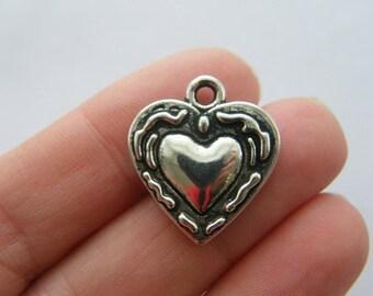 6 Heart pendants antique silver tone H168