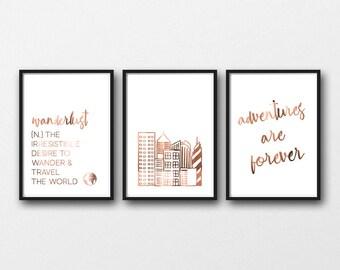 Copper travel // Set of prints // Wanderlust // Adventures // Buildings // NYC // New York // Copper foil // Copper quotes// Copper