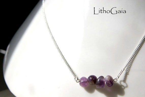 Amethyst Bar Necklace on Chain Sterling Silver 925, Amethyst Bar Gemstone, Crystal Necklaces, Amethyst Jewelry, Gift for Her, Bar Necklace